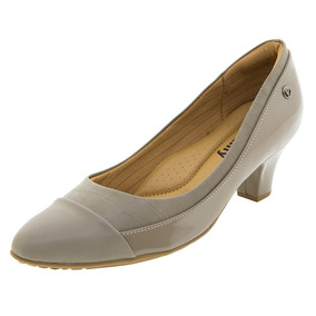 Sapato Feminino Salto Baixo Bege/escuro Piccadilly - 703006