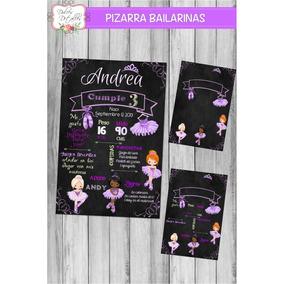 Tarjeta Invitación Imprimible Editable Pizarra Bailarina