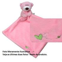 Naninha Urso De Pelúcia Cobertorzinho Macio Para Bebê Rosa