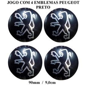 Jogo De Emblema Peugeot Preto 90mm Para Calota De Roda Liga