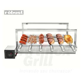 Churrasqueira Inox Gira Grill 6 Espetos Robust+grelha Girat