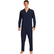 Pijama Longo Hospital Homem Adulto Aberto Frente Botões