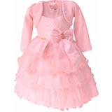 Vestido Festa Infantil Rosa Bolero Aniversário Mega Promoção