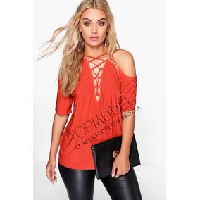 Blusa Feminina Plus Size E Todos Tamanho Cordão Camiseta