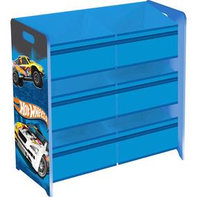 Estante Hot Wheels Com Caixas Organizadoras De Tecido Mattel