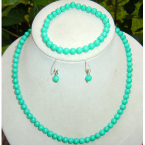 4901dbd93752 Set Jade Color Tuerkesa 6 Mm Collar Pulsera Aretes
