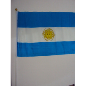 Bandera Argentina De Tela, Mástil Plástico,por Mayor Y Menor