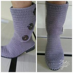 Bota Em Crochê Com Solado Em Pvc Várias Cores À Escolher