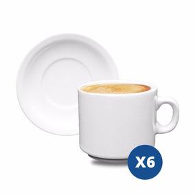 Taza Cafe - Pocillo - X6u - C/ Plato Porcelana Simil Tsuji