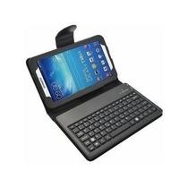 Kit Capa Teclado Bluetooth Samsung Tablet4 7 T230 + P. Vidro