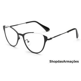 Armação Óculos Grau Feminina Retro Olho Gato Oferta Com Case 3bc1fa6d79