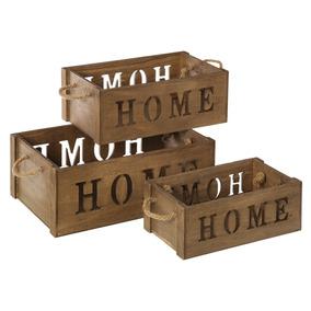 huacales o cajas de madera vintage set de 3 cajas home - Cajas De Madera Decoradas