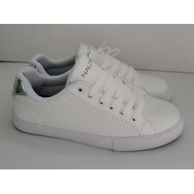 Tenis Náutica Color Blanco Con Plateado #23 Y 24.5 Mex