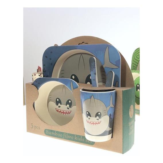 Set Bebe Chicos Comida Plato Vaso Cubiertos Bambu Ecologico