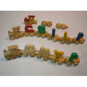 Brinquedo Antigo Trenzinho Madeira Pedagógico E Inteligente
