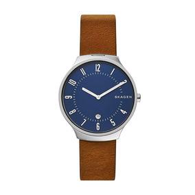 d9abd5fe61055 Relógio Skagen Denmark Swiss Rectangle Brown Mop Link - Relógios De ...