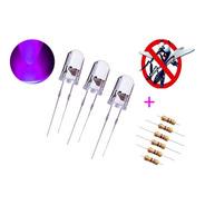 10x Led Ultravioleta Uv 5mm Alto Brilho + Resistor 470 12v