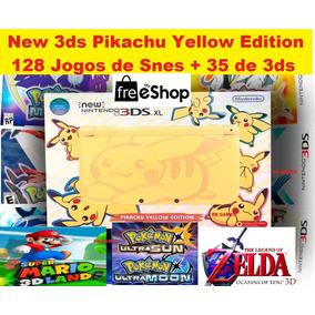 New Nintendo 3ds Xl Pikachu + 150 Jogos + Pokemon + Mario