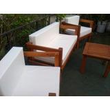 Juego De Sillones+almohadones+mesa Exterior Interior Madera