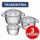 Juego Olla Acero Inoxidable Tramontina - Induccion 3 Pz