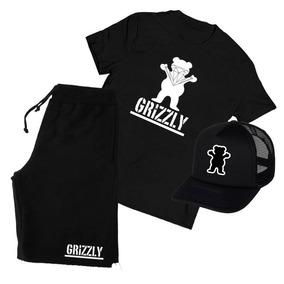 Grizzly Camiseta + Bermuda + Boné Kit Aba Curva Dgk