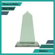 Placas Conmemorativas En Vidrio Obelizco Plano