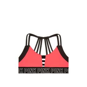 Corpiño Coral Negro Tiritas 90-95 Pink Victoria