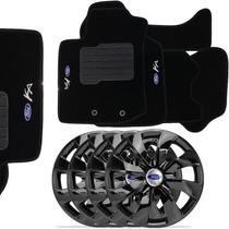 Jogo De Calotas Aro 13 Black Ford Ka + Tapete Carpete Ford