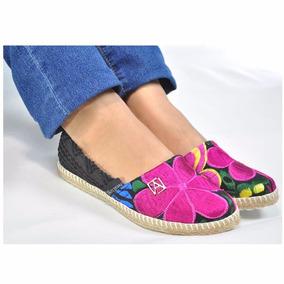 Alpargatas Piel Bordado Artesanal Chiapas. Flats Mujer Moda