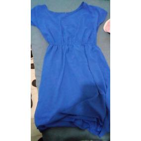 Vestido De Velito Azul Rey Corto De Enfrente Y Largo Atrás