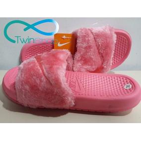Cholas Sandalias Pantuflas Nike De Peluche Gamuzadas
