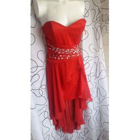Vestido De Fiesta Cola De Pato Rojo Con Piedras