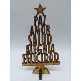 1 Arbolito Navidad De 55cm Palabras Fibrofacil Mdf Arbol