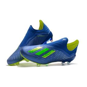 Chuteira adidas X 18 Blue + Yellow Campo Profissional