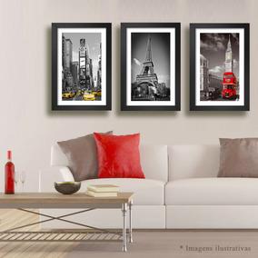 Quadro Nova York Paris Londres 68x48cm Decorativo Kit C/ 3