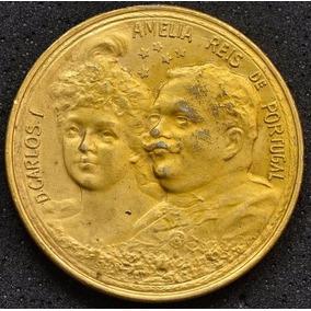 Medalha Comemorativa, Carlos I E Amélia - D.manoel Ii Reis