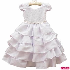 Vestido Infantil Branco Daminha Batizado Formatura E Tiara