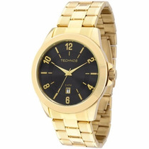 Relógio Masculino Technos Dourado Fundo Preto 2115kon/4p