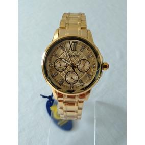 Relógio Dourado Feminino Grande G-3394 Atlantis Original.