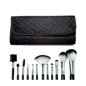 Kit C/12 Pincéis Para Maquiagem Macrilan + Necessaire = Mac