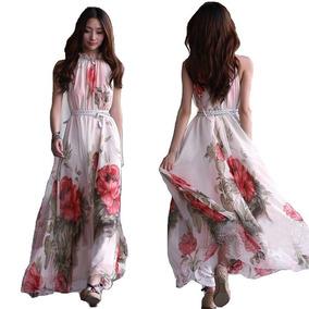 Tsuki Moda Japonesa: Vestido Largo Maxi Flores Chifon Playa