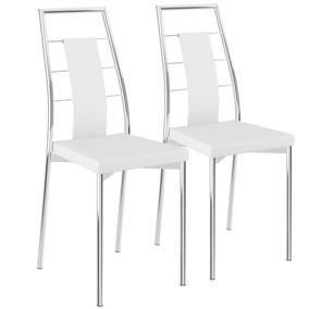 Conjunto 2 Cadeiras Couríssimo Branca Cromada 1718 Móveis Ca