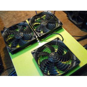 Lote 3 Ventiladores Fan Cooler Avp 12 X 12 Con Reja Negros