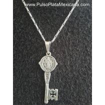 Dije Plata Ley 925,llave San Benito Pavonado Con Cadena 50cm