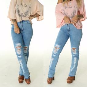 Calça Jeans Flare Rasgo Destroyed Barra Desfiada Lady Rock