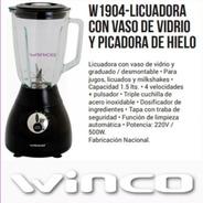 Licuadora Winco W-1904 Vaso De Vidrio 500w Pica Hielo 1,5lts