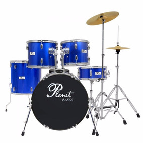 Bateria Planet Bless Azul Met B1020mb + Pratos