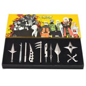 Kit Naruto Sasuke Kunai Espada Ninja Shuriken 10 Peças