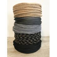 Cable Textil X 10 Metros Color Gris Colgante Vintage Retro