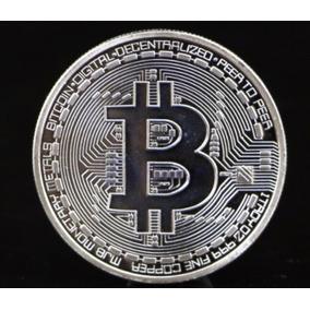 Moeda Bitcoin Física Banhada Prata 950 Btc Promoção